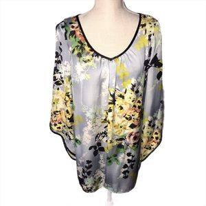 Beautiful Gray Floral Silky Blouse by Chenault